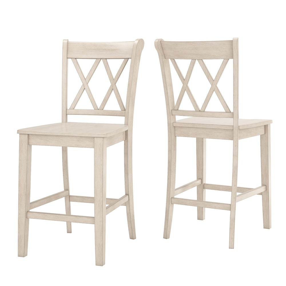 South Hill X Back 24 in. Counter Chair (Set of 2) - Antique White - Inspire Q