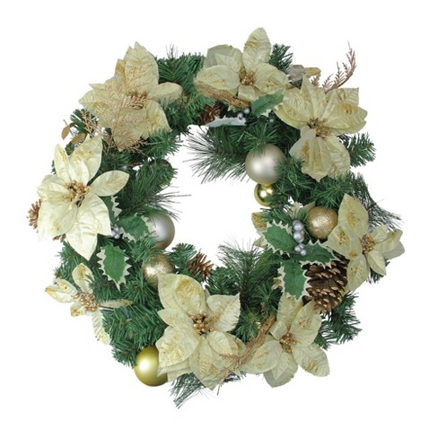 """Northlight 24"""" Unlit Gold Poinsettia and Pinecone Artificial Christmas Wreath - image 1 of 1"""