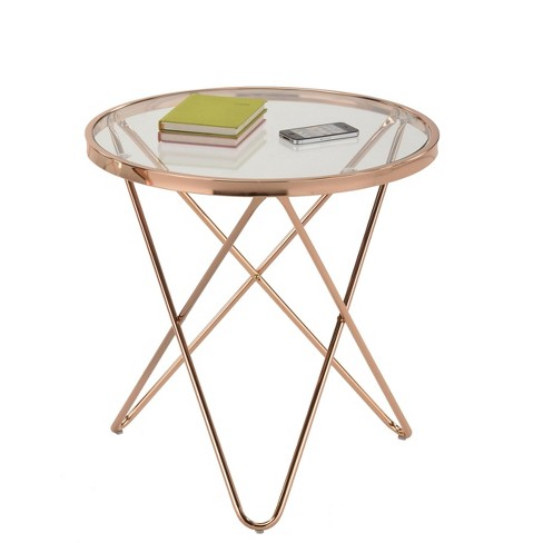 Danya B Tetra Clear Glass Top Round End Table With Metal Frame