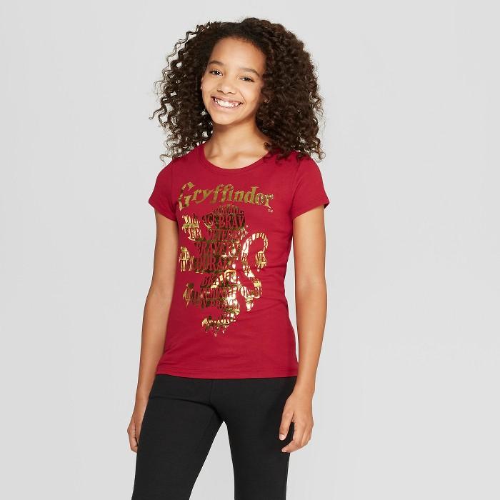 Girls' Harry Potter Gryffindor Short Sleeve T-Shirt - Dark Red - image 1 of 3
