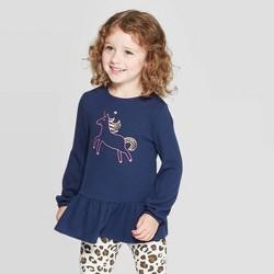 Toddler Girls' Unicorn Cozy Peplum Top - Cat & Jack™ Navy