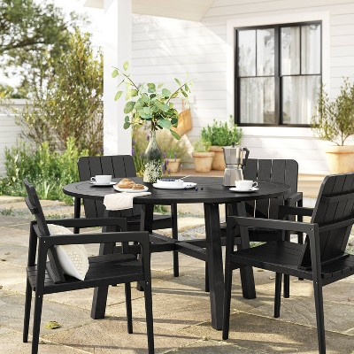 Blackened Wood Round Patio Dining Set - Smith & Hawken™