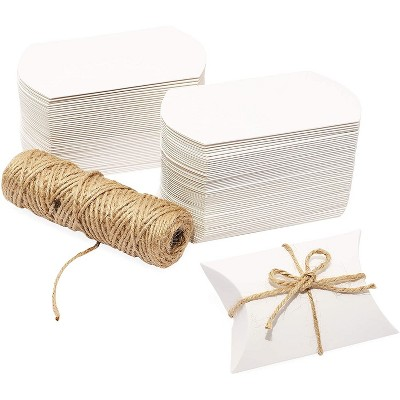 Bright Creations Mini Paper Pillow Gift Box Set with Jute Twine (3.5 x 2.5 x 0.95 In, 100 Pack)