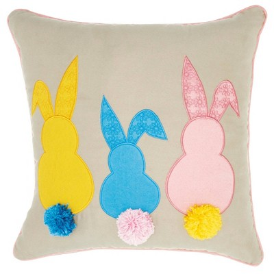 """18""""x18"""" Mina Victory Home For The Holiday Bunny Tails Throw Pillow - Nourison"""