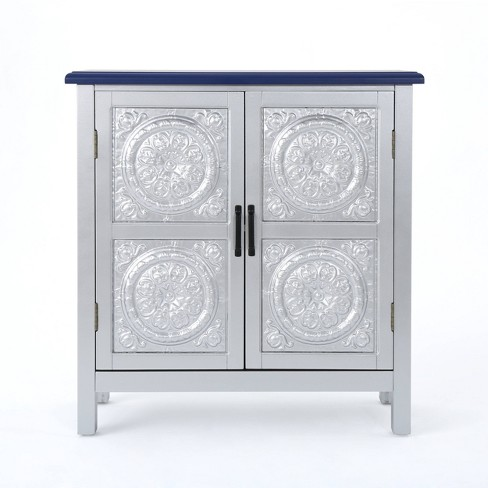 Alana Firwood Cabinet Silver Navy Blue Christopher Knight Home Target