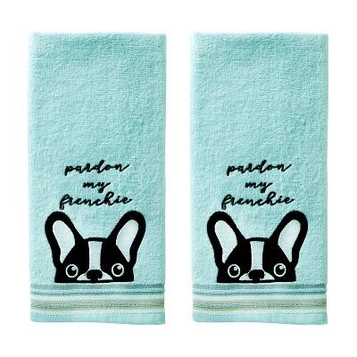 2pk Pardon My Frenchie Hand Towel Set Aqua - SKL Home