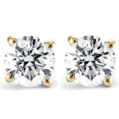 Pompeii3 Tiny 1/4Ct Round Diamond Small Stud Earrings in 14K White or Yellow Gold Classic Setting
