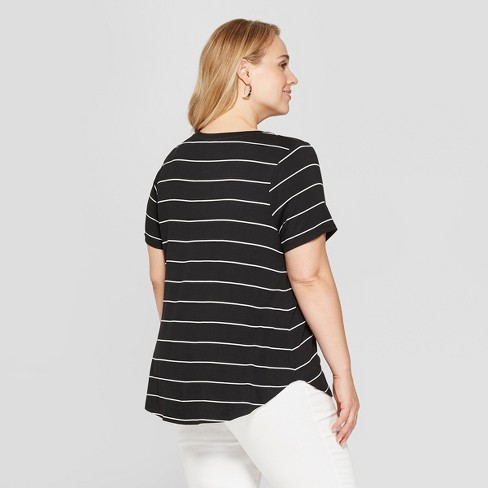 15a75afbe Women's Plus Size Striped Short Sleeve Scoop Neck Relaxed T-Shirt - Ava &  Viv™ Black/White : Target