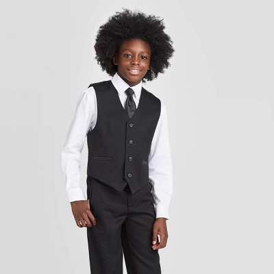 Oxford Boys' Sleeveless Tuxedo Suit Vest - Black