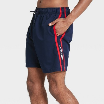 "Speedo Men's 8"" Striped Swim Trunks - Navy"
