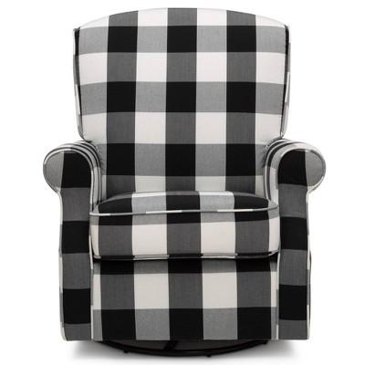 Delta Children Oakley Nursery Glider Swivel Rocker Chair - Black Plaid