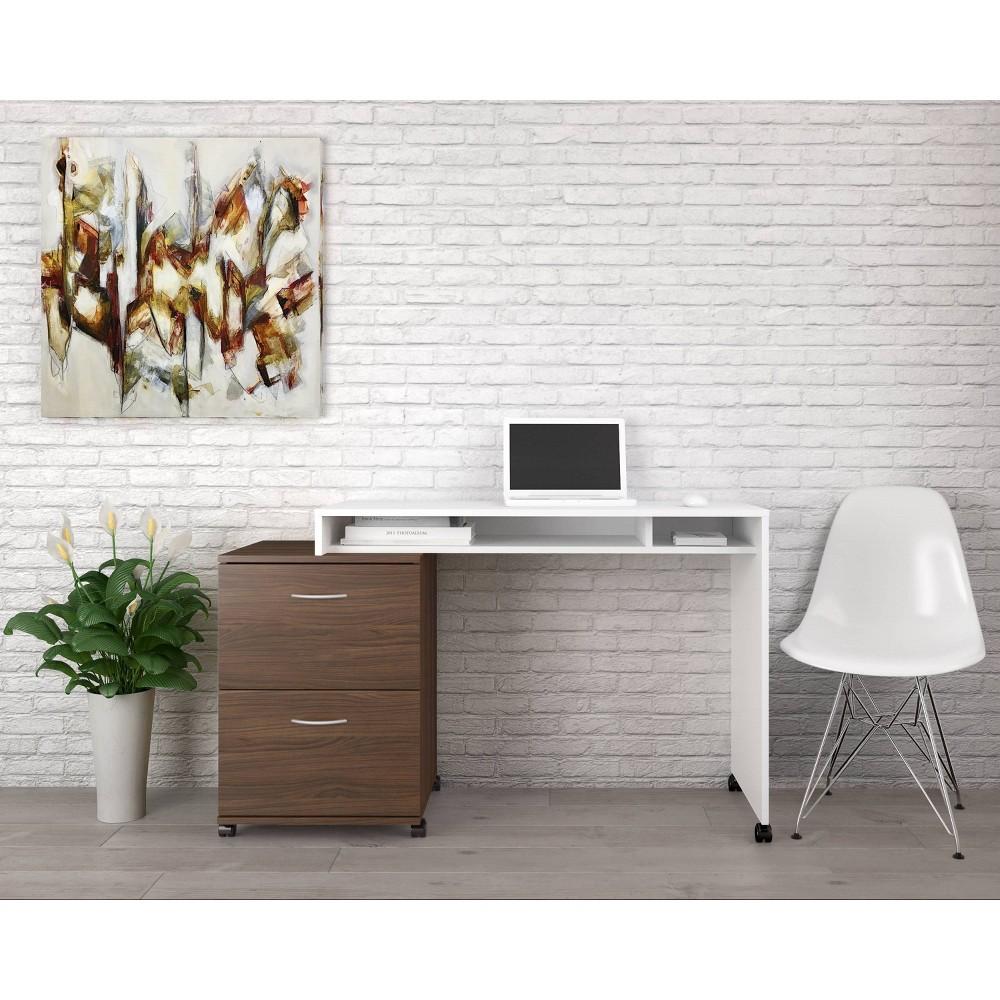Image of Essentials 2 Piece Home Office Set with 2 Drawer File Cabinet White/Walnut - Nexera