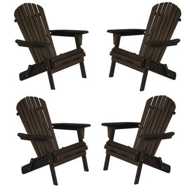 4pc Oceanic Adirondack Chairs - Dark Brown - W Unlimited