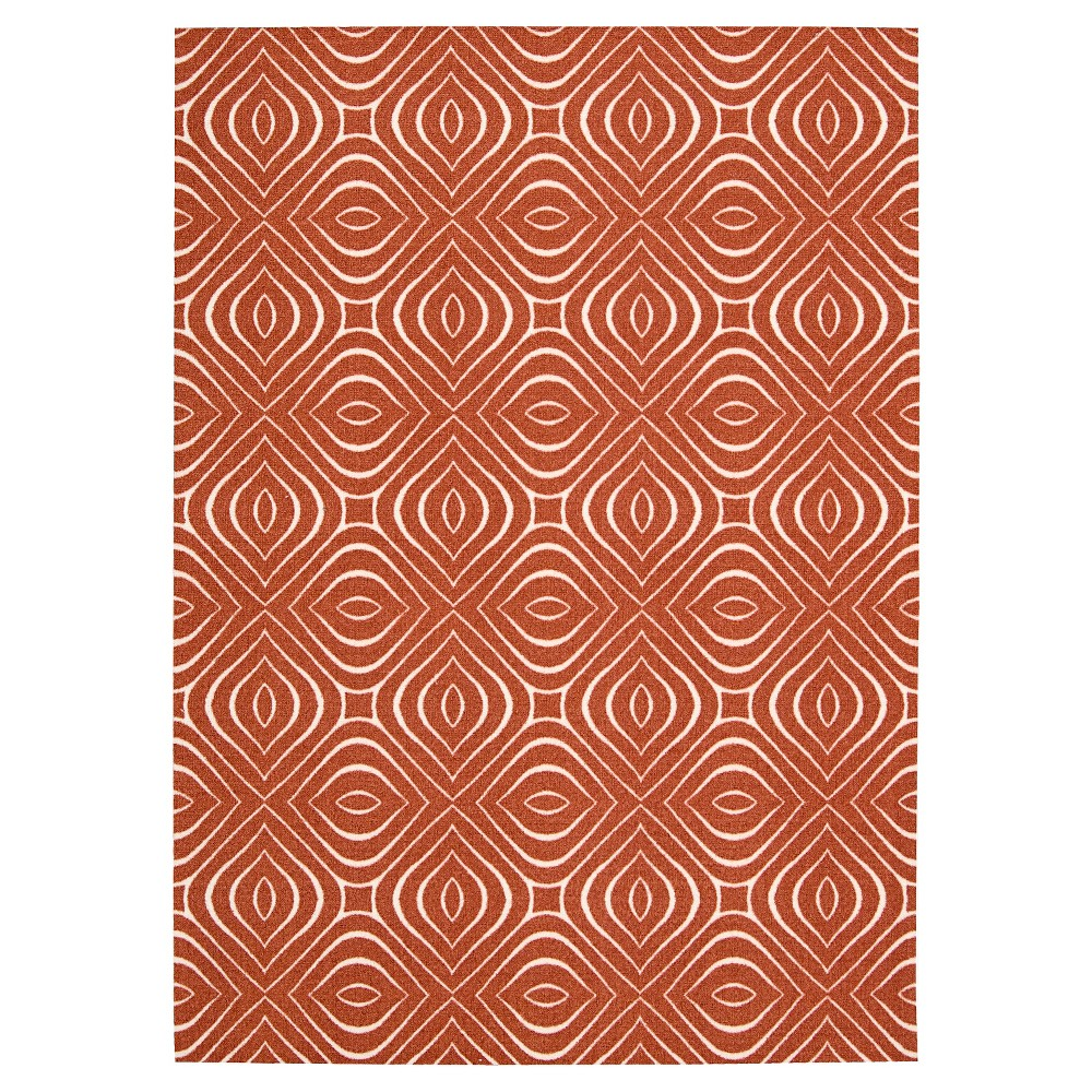 Nourison Rippling Leaf Enhance Area Rug - Paprika Red (5'X7')