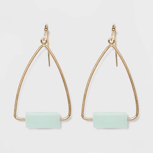 Rectangular Cubed Semi-Precious Drop Earrings - Universal Thread™ - image 1 of 2