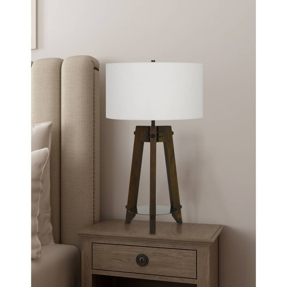 Image of 150W 3 Way Bilzen Ash Wood Tripod Table Lamp Walnut - Cal Lighting