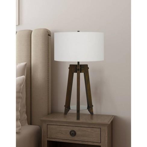 150w 3 Way Bilzen Ash Wood Tripod Table Lamp Walnut Cal Lighting