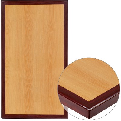 """Flash Furniture 30"""" x 42"""" Rectangular 2-Tone High-Gloss Cherry Resin Table Top with 2"""" Thick Mahogany Edge"""
