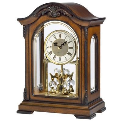 Bulova Clocks B1845 Durant Walnut Wood and Glass Revolving Pendulum Clock, Brown