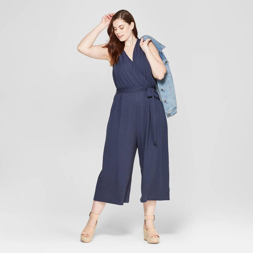 Women's Plus Size Sleeveless V-Neck Jumpsuit - Universal Thread Navy 1X, Blue