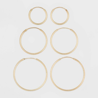 Gold Over Sterling Silver Endless Hoop Fine Jewelry Earring Set 3pc - A New Day™ Gold