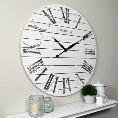 Farmhouse Shiplap Wall Clock White - FirsTime
