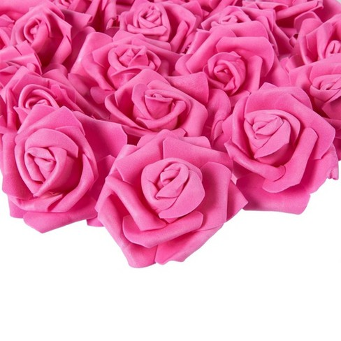 Juvale Rose Flower Heads - 100-Pack Artificial Roses, Perfect Wedding Decorations, Baby Showers, Crafts - Deep Pink, 3 x 1.25 x 3 inches - image 1 of 3