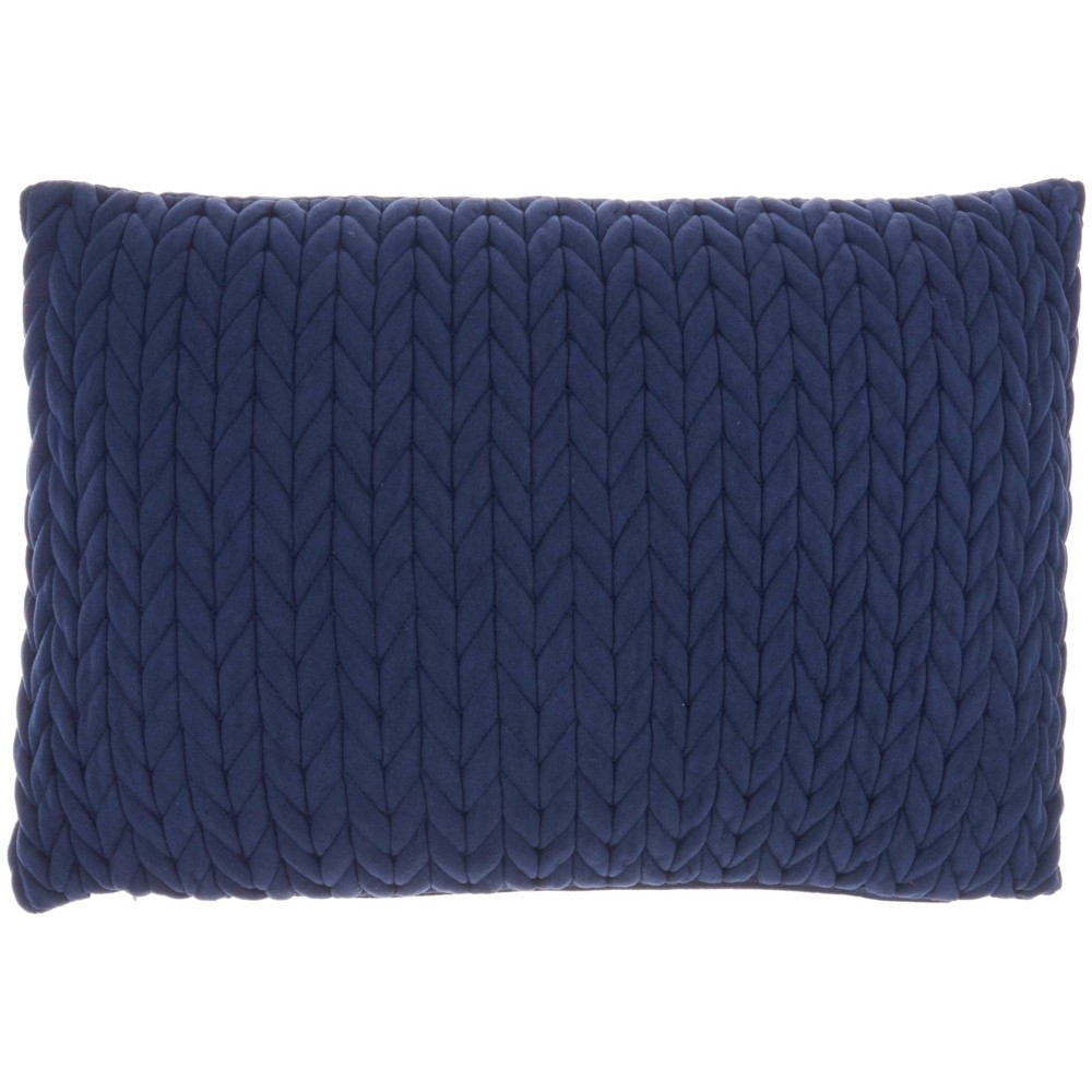 14 34 X20 34 Life Styles Quilted Chevron Lumbar Throw Pillow Navy Mina Victory