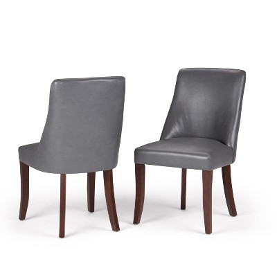 Set of 2 Haley Deluxe Dining Chair Stone Gray Faux Leather - WyndenHall