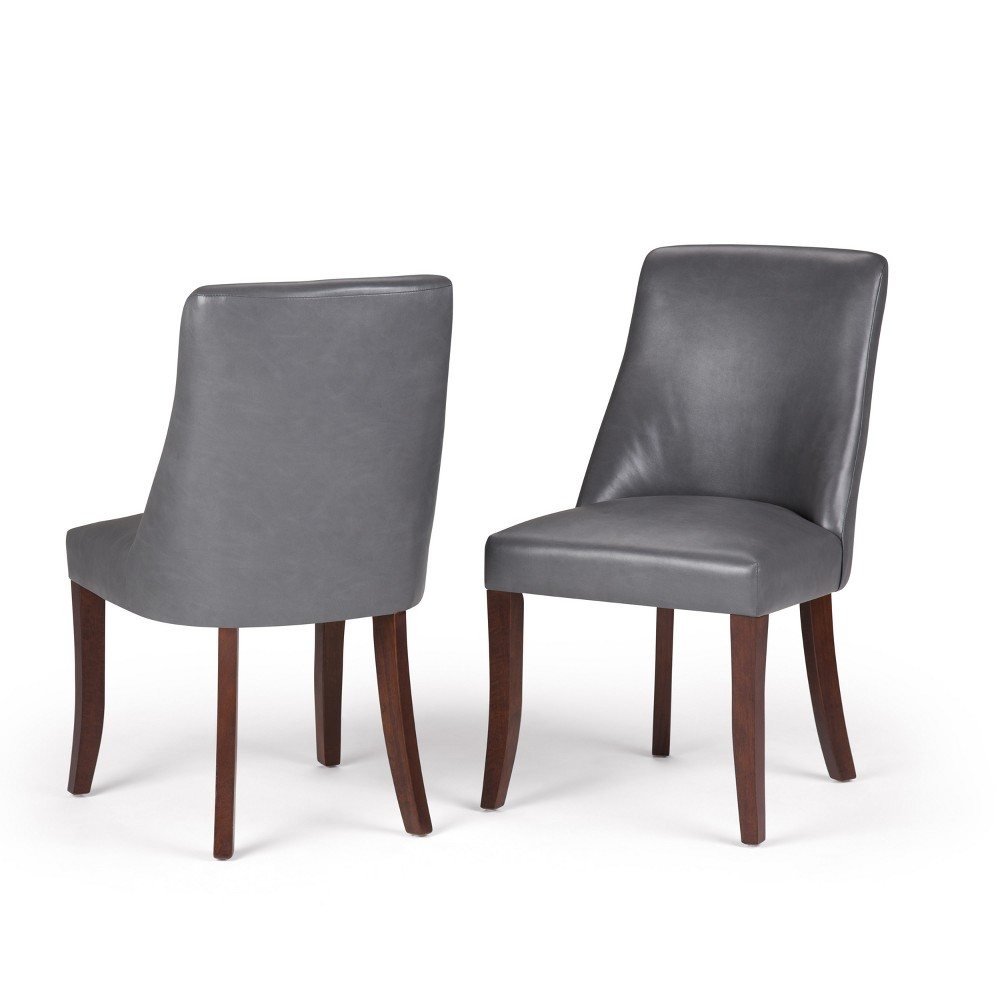 Haley Deluxe Dining Chair Set of 2 Stone Gray Faux Leather - Wyndenhall, Stone Grey