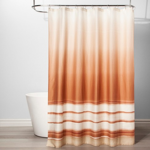 Mesa Striped Shower Curtain Sour Cream