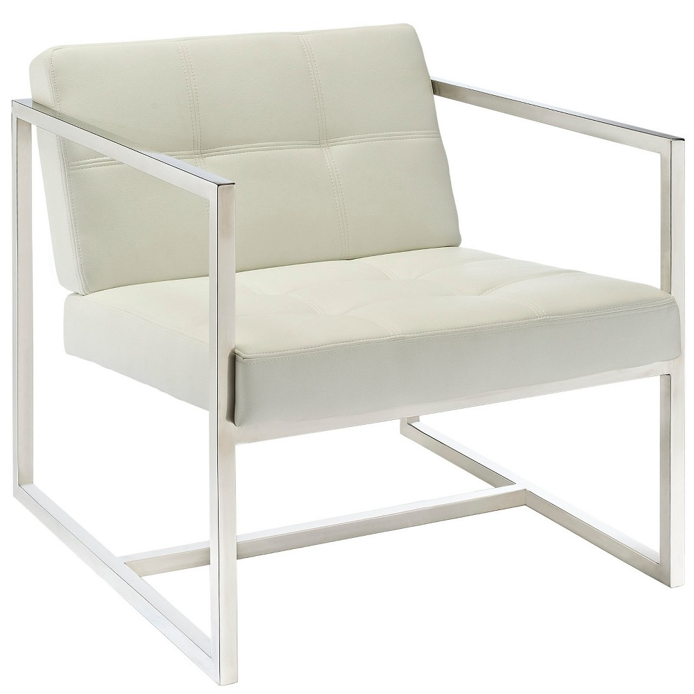 Hover Upholstered Vinyl Lounge Chair White - Modway