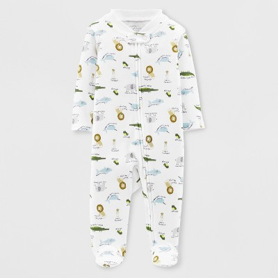 Little Plant Organic by carter's Baby Boys' Animals Footed Sleeper - White Newborn