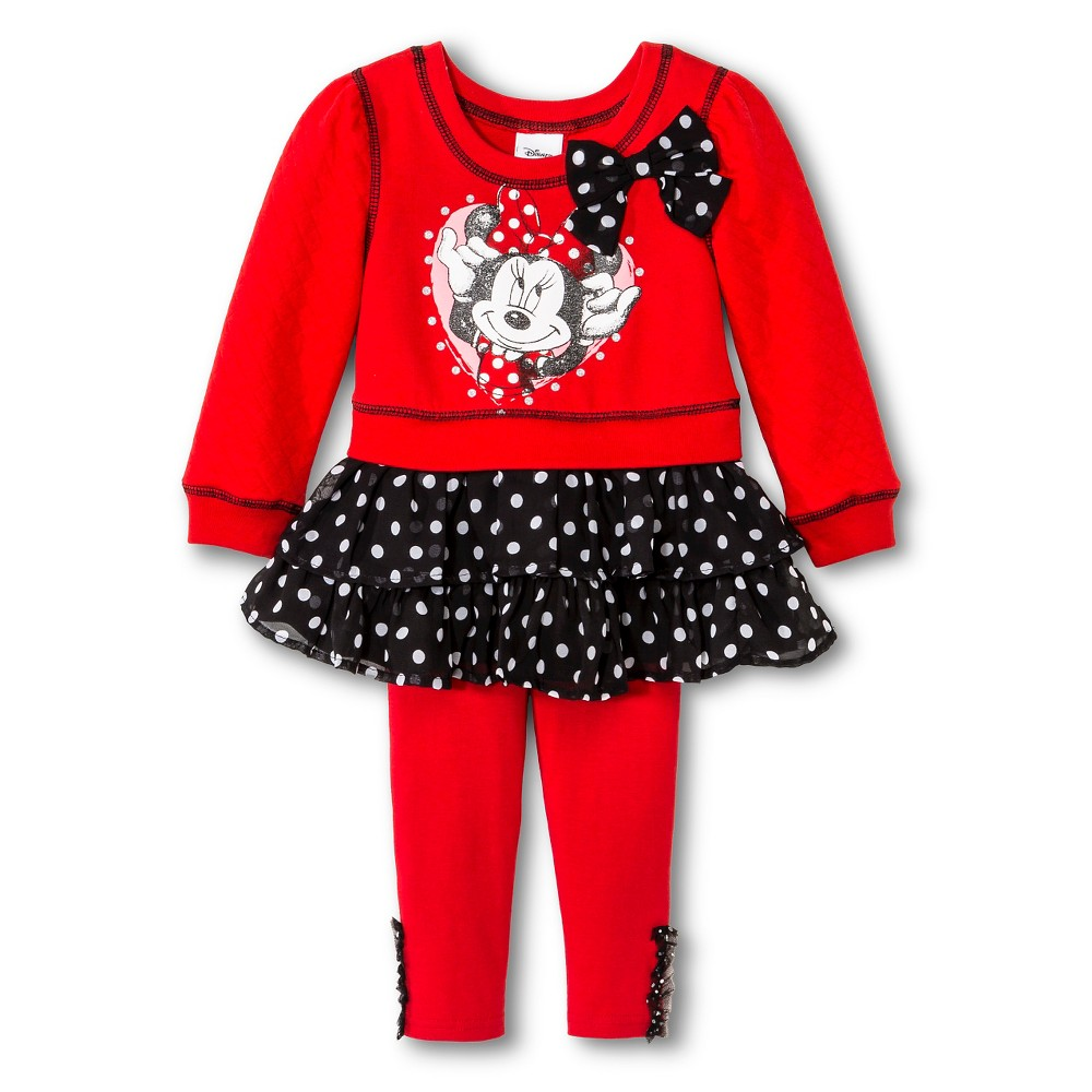 Toddler Girls' Minnie Mouse Top and Bottom Set - Red 18 M, Size: 12M