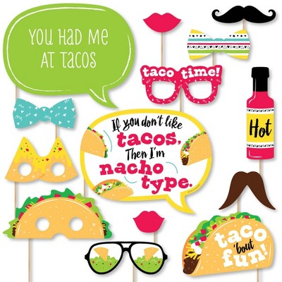 Big Dot of Happiness Taco 'Bout Fun - Mexican Fiesta Photo Booth Props Kit - 20 Count