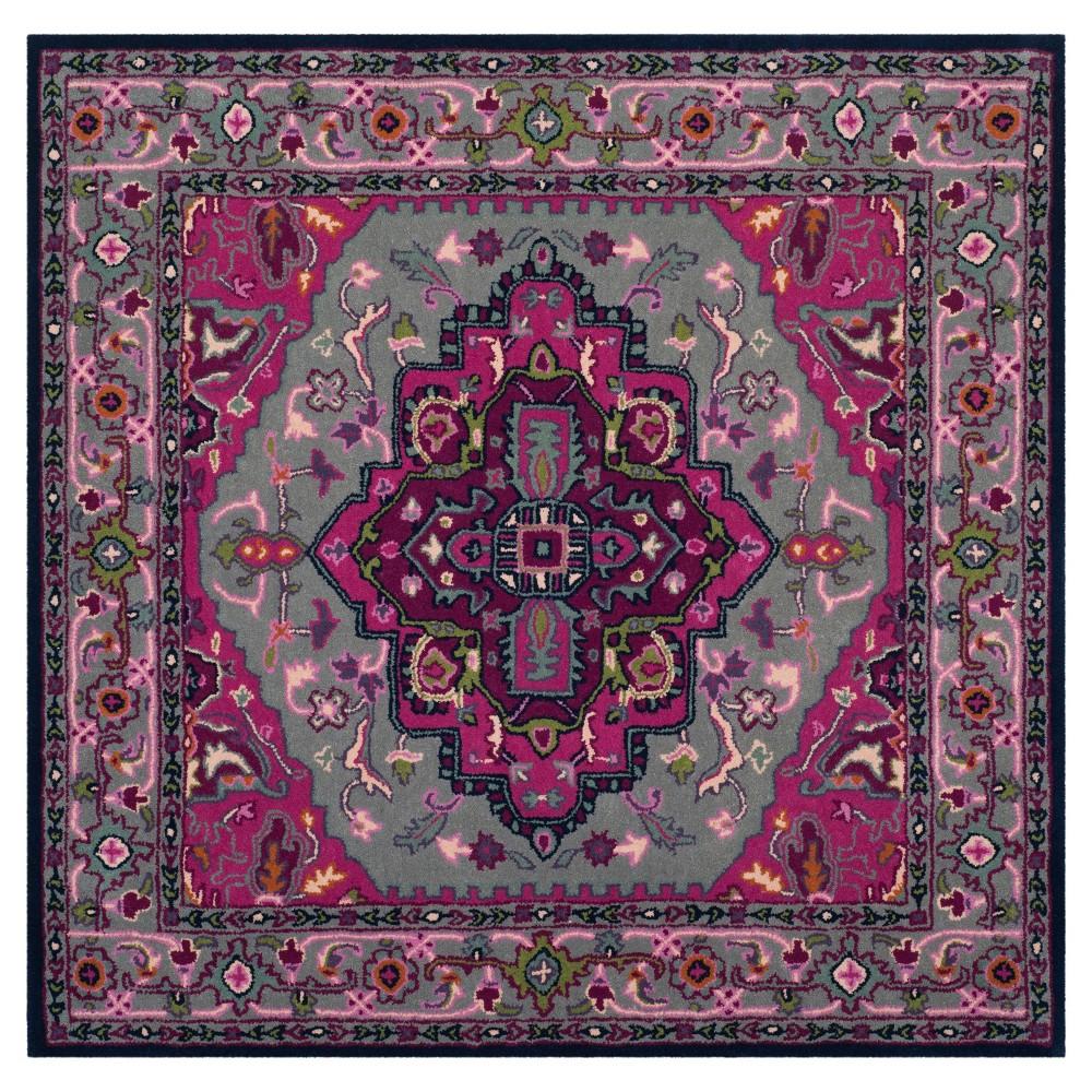 Gray Pink Medallion Tufted Square Area Rug 5 X5 Safavieh