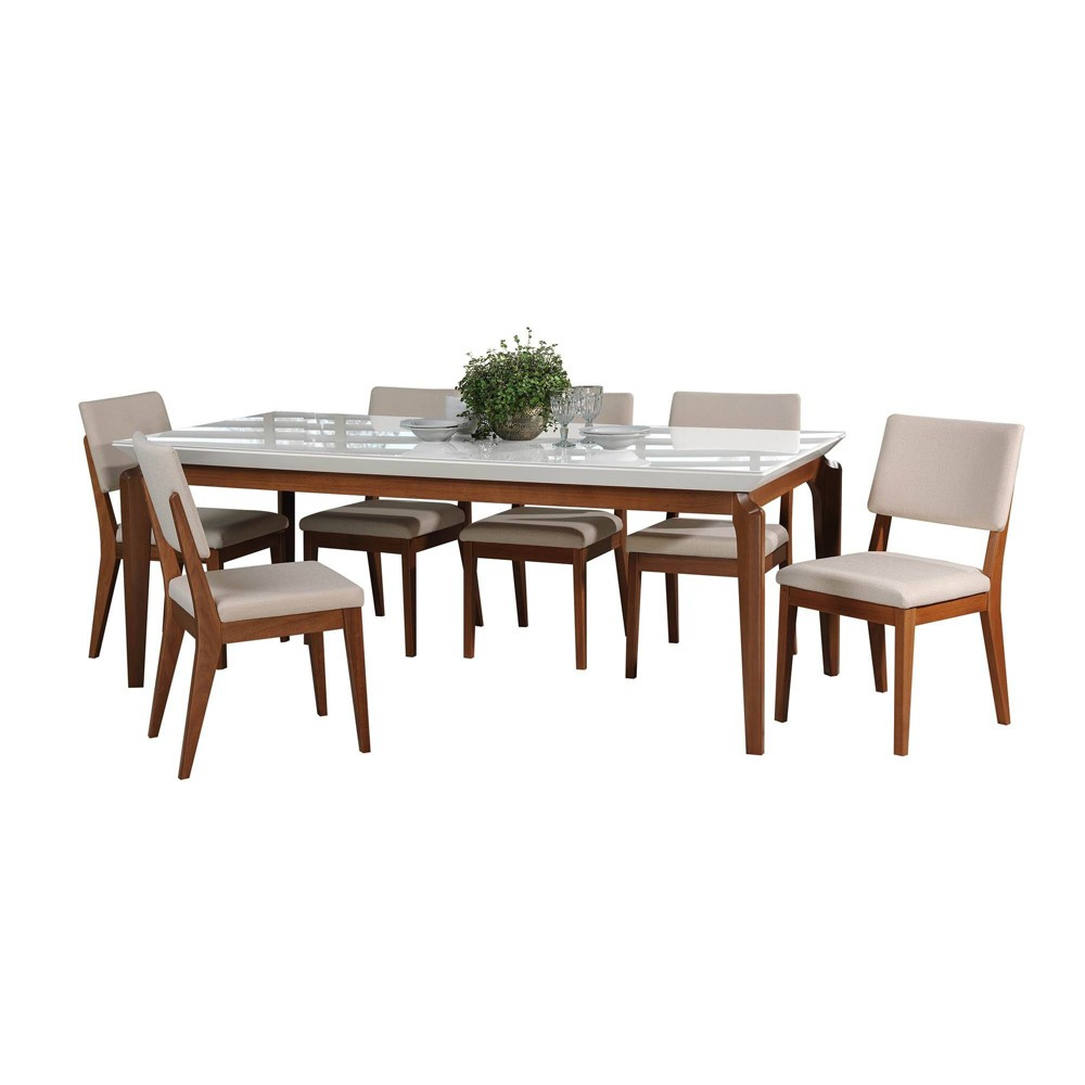 82.67 7pc Payson and Dover Dining Set Gloss White/Beige - Manhattan Comfort