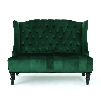 Leora Winged Loveseat Emerald - Christopher Knight Home
