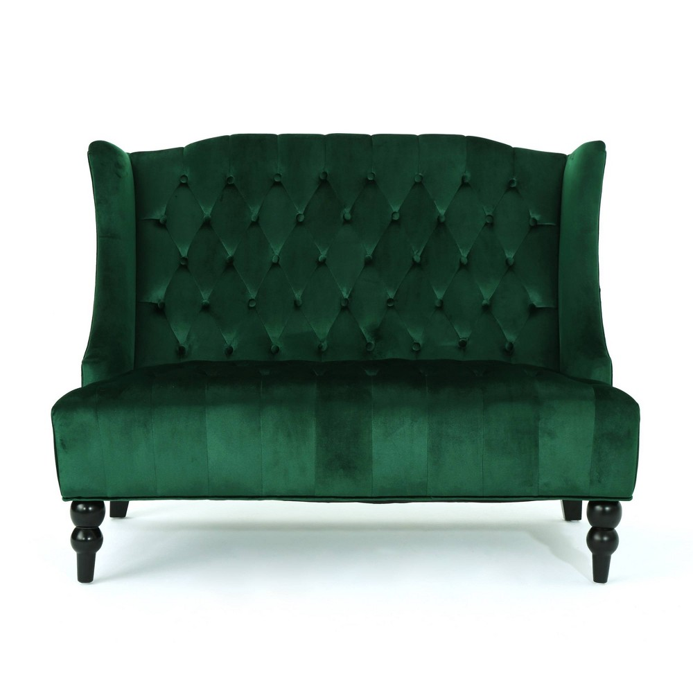 Leora Winged Loveseat Emerald Christopher Knight Home