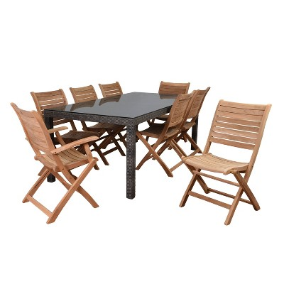 Harwich 9pc Wicker Patio Dining Set with Rectangular Table - Amazonia