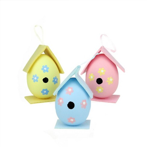 Northlight 3ct Painted Design Spring Easter Egg Birdhouse Ornaments 4 25 Blue Pink Target