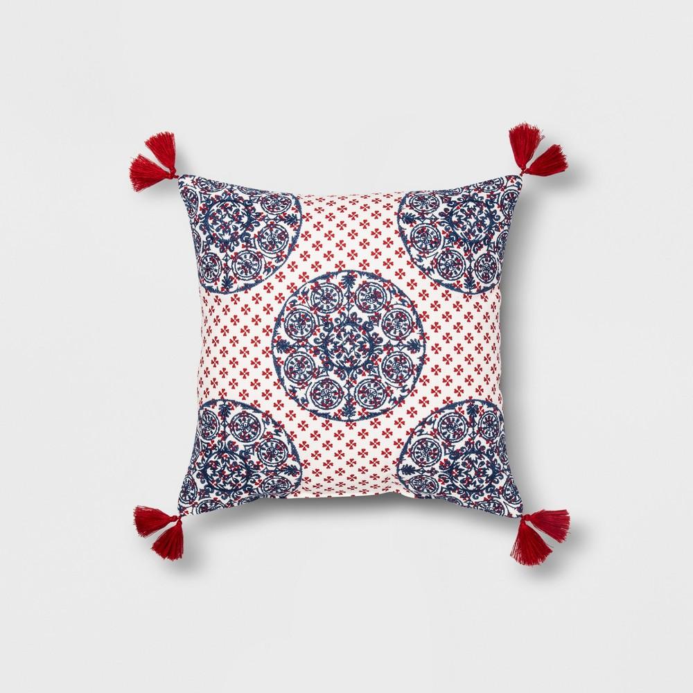 Medallion Square Throw Pillow Blue/Red - Opalhouse, Blue/White