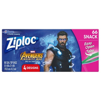 Ziploc Marvel Avengers Infinity War Design Easy Open Snack Bags - 66ct