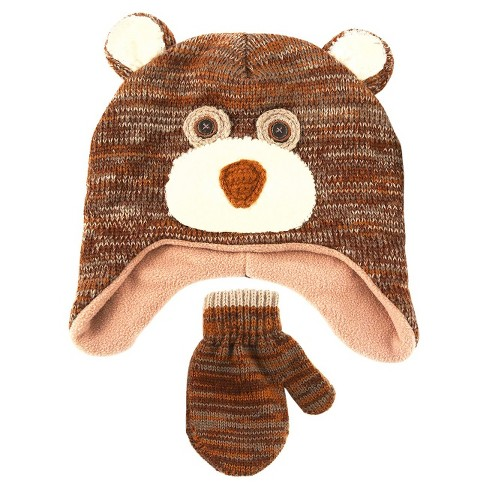 Baby Boys' Bear Hat and Mitten Set - Cat & Jack™ Brown - image 1 of 1