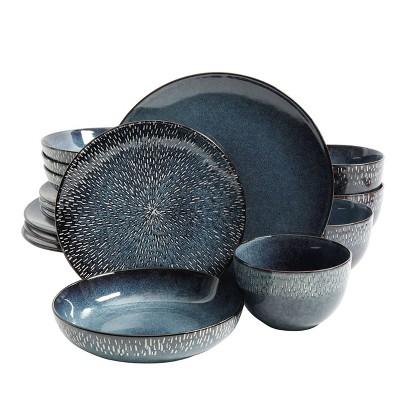 Gibson Elite 16pc Stoneware Matisse Double Bowl Dinnerware Set