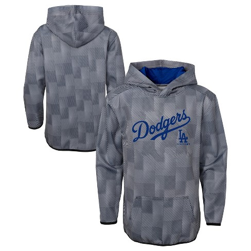 MLB Los Angeles Dodgers Boys' First Pitch Gray Poly Hoodie - image 1 of 3