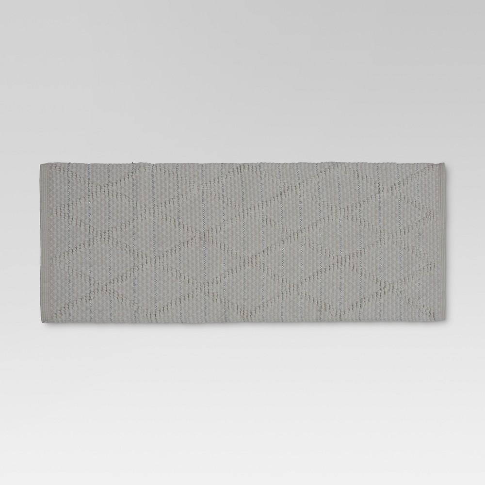 Hand Woven Cotton Jute Runner Rug 2'x5' - White - Threshold