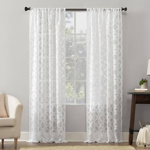 Jacquard Sheer Rod Pocket Curtain Panel