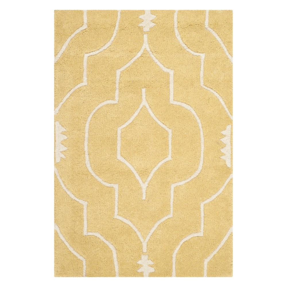 3'X5' Geometric Tufted Accent Rug Light Gold/Ivory - Safavieh