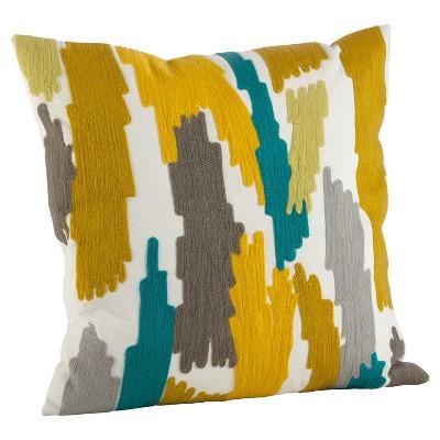 Lime Haze Embroidered Brushstroke Design Throw Pillow (20 )- Saro Lifestyle®
